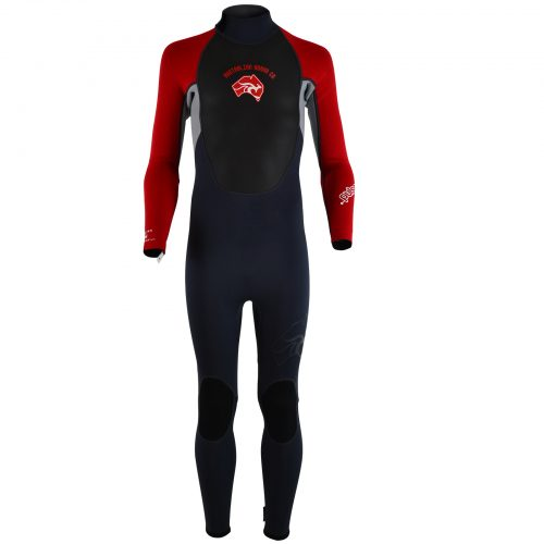 Kids full length summer wetsuit in red and black