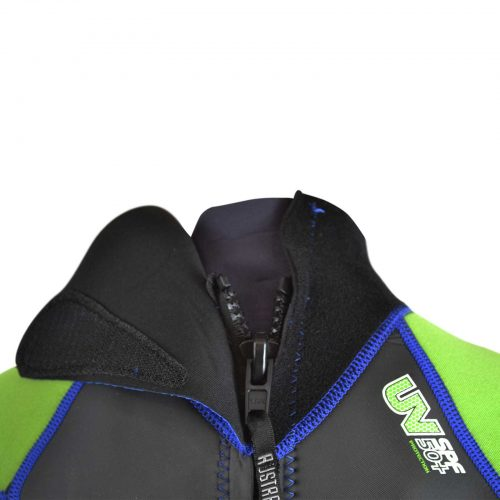 Neck of young child's summer wetsuit